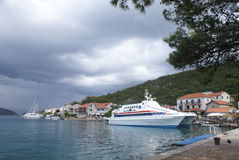Catamaran moored in Polace village on Mljet Island Royalty Free Stock Photography