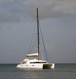 A catamaran motoring into the shelter of admiralty bay, bequia Royalty Free Stock Photo
