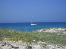 Catamaran near the beach in Corsica Royalty Free Stock Photo