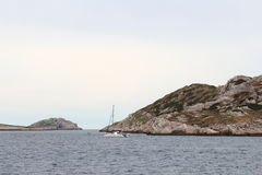 Catamaran near calanques coast, Marseille, France Stock Images