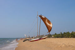 Catamaran Negombo beach, Sri Lanka Stock Photography