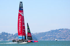 Catamaran New Zealand racing in Louis Vuitton Cup Royalty Free Stock Photo