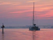 Catamaran på gryning Royaltyfria Bilder