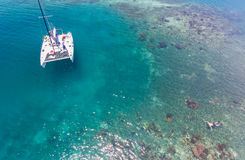 Catamaran and Reef Aerial Stock Photography