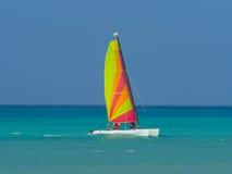 Catamaran sailboat. Catamaran in caribbean sea on blue sky background Royalty Free Stock Photography