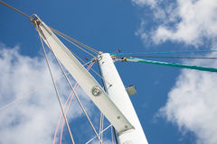 Catamaran sailboat mast horizontal Stock Images