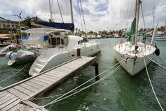 Catamaran and a sailboat moored at the port of Aruba Stock Photo