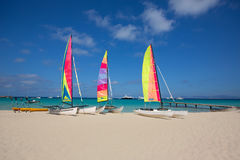 Catamaran sailboats in Illetes Formentera beach. At Balearic Islands Stock Image