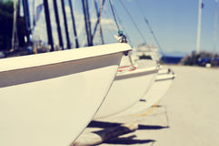 Free Catamaran Sailboats Stranded In A Beach, With A Filter Effect Stock Images - 55923634