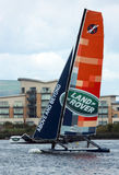 Catamaran sailing in Cardiff Bay Stock Photo