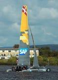 Catamaran sailing in Cardiff Bay Stock Image