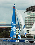 Catamaran sailing in Cardiff Bay Stock Photography