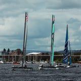 Catamaran sailing in Cardiff Bay Royalty Free Stock Photo