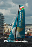 Catamaran sailing in Cardiff Bay Stock Photos