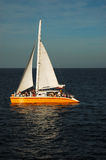 Catamaran at sea in the sunset. Catamaran with orange hull and white sail at sunset.  The deck is filled with people at a party.  There is a golden glow from Stock Photo