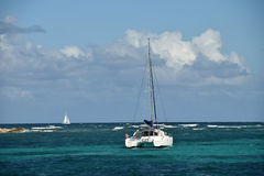 Catamaran in shallow water Stock Photos