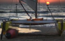 Catamaran at sunset Stock Image