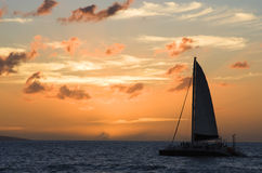 Catamaran at Sunset. A catamaran sails at sunset Royalty Free Stock Images