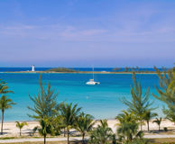 Catamaran at the tropical beach Stock Photo