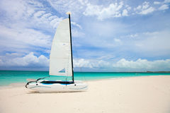 Catamaran at tropical beach Stock Photography