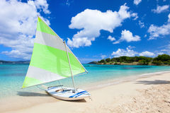 Catamaran at tropical beach Royalty Free Stock Photography