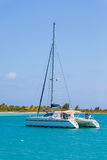 Catamaran at the tropical beach of Cuba Royalty Free Stock Photo