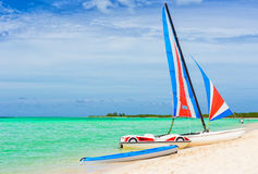 Catamaran at a tropical beach in Cuba Stock Image