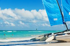 Catamaran on the tropical beach, Cuba, Varadero Royalty Free Stock Image