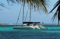 Catamaran in tropical ocean Stock Photography