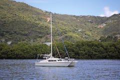 Catamaran in the tropics. Luxurious catamaran anchored next to a lush green mountain in the tropics Royalty Free Stock Photo