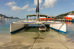A catamaran used for excursions to neighbouring islands in the grenadines. A large yacht waiting for passengers at port elizabeth, bequia stock photo
