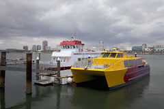 Catamaran vessel at berth Stock Photos