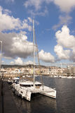 Catamaran in Vigo port. Royalty Free Stock Images