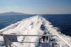 Catamaran wake, Greece Royalty Free Stock Photo