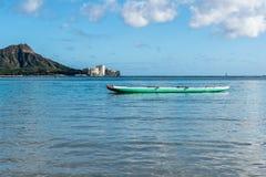 Catamaran in the water on Waikiki Beach in Honolulu, Hawaii royalty free stock photos