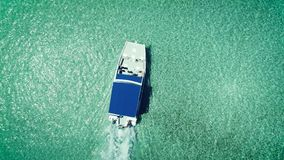 Catamaran or yacht sailing in the caribbean sea and beautiful clear water stock video footage