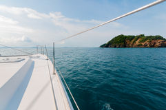Catamaran yacht sailing towards the island ahead in Phuket, Thai Stock Image
