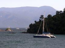 Catamaran yacht in sea Stock Photography