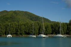 Catamaranes en Seychelles. Imagen de archivo libre de regalías