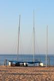 Catamarani allineati Immagine Stock