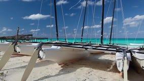 Catamarans on the beach, Cuba stock video