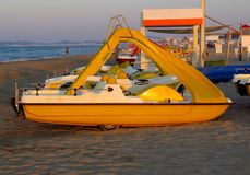 Catamarans on the beach. In Rimini, Italy Stock Photography