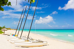 Catamarans at the beach of Varadero in Cuba Royalty Free Stock Photos