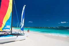 Catamarans at tropical beach. Catamarans at beautiful Caribbean beach Stock Images