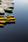Catamarans and boat on a river. Colorful catamarans and boats on a river Stock Photos