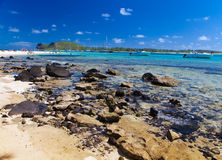 Catamarans and boats in a bay. Mauritius.Sea tropical landscape in a sunny day Stock Photography