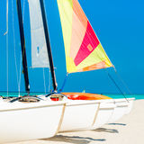 Catamarans with colorful sails on a tropical beach. Group of catamarans with colorful sails on a tropical beach in Cuba Royalty Free Stock Images