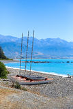Catamarans on Kaikoura pebble Beach, New Zealand. Catamarans on Kaikoura pebble Beach, South island, New Zealand Stock Photo