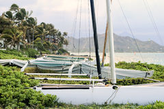 Catamarans at Kailua Bay Royalty Free Stock Photos