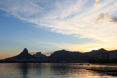 Catamarans at Lagoon (Lagoa) sunset, Rio de Janeiro Royalty Free Stock Photos